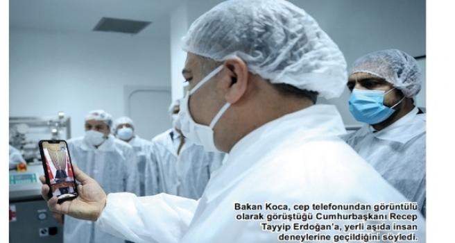 Sağlık Bakanı Koca 'yerli aşı müjdesi'ni ÇOSB'den verdi